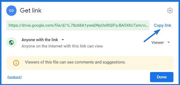 Google Drive File Shareable Link