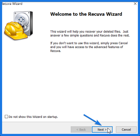 Recuva Wizard in Windows 10