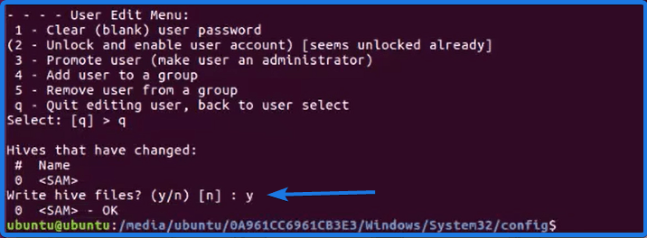 Confirm Writing Windows Password Hive File