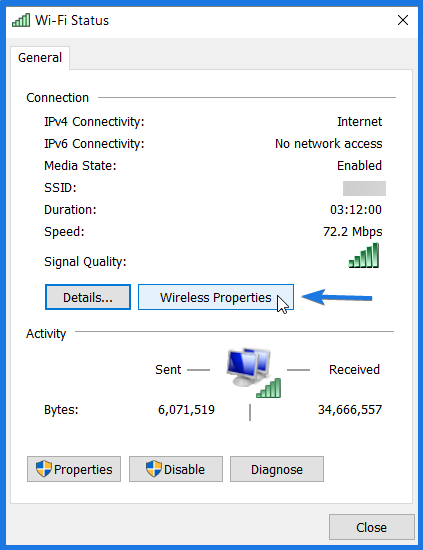 View Wireless Properties