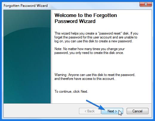 Windows 7 Password Reset Disk Wizard