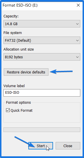 Restore USB Device Defaults