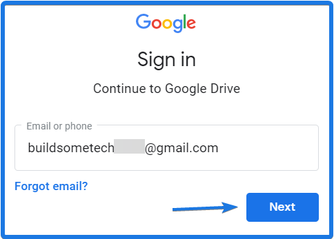Sign in Google Drive Account