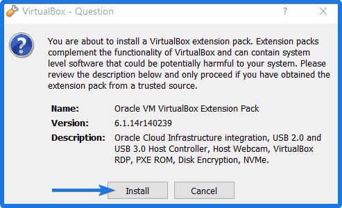 Install Oracle VM Virtualbox Extension Pack