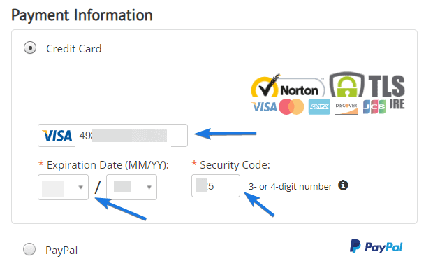 Payment Section for Credit Card