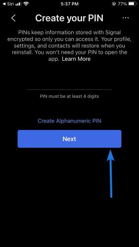 Create & Confirm your PIN