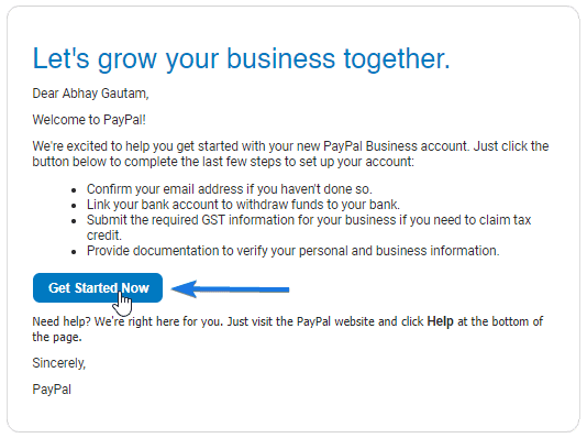 Paypal Activate now Email