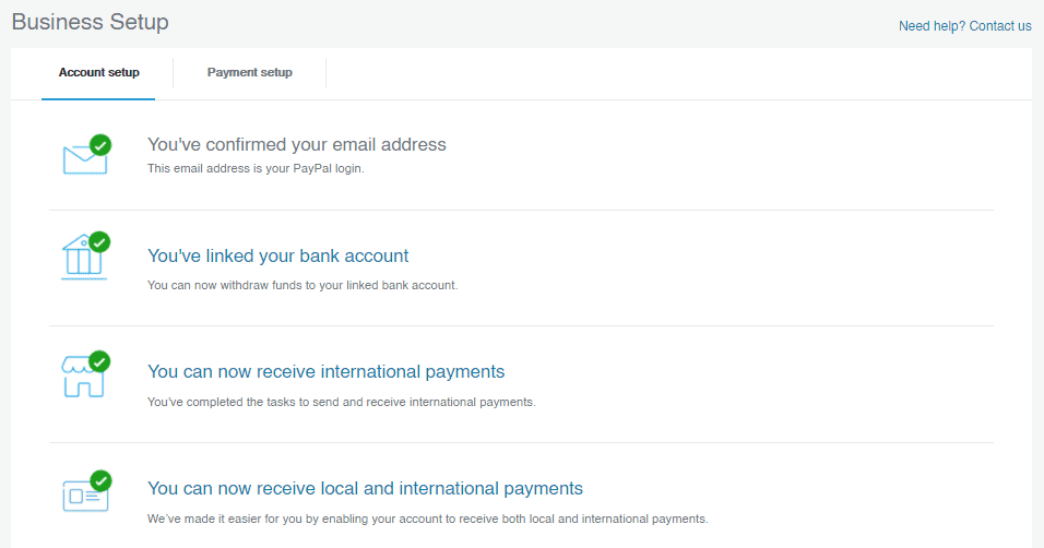 Paypal Business Account has been Setup