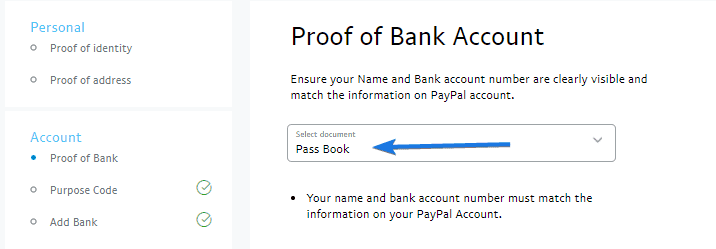Upload your Proof of Bank