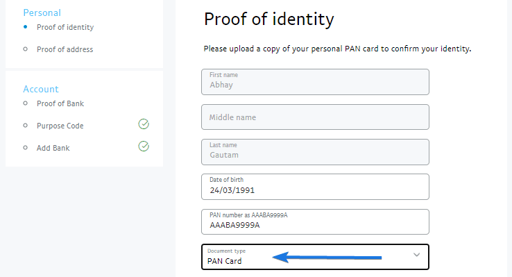Upload your Proof of Identity