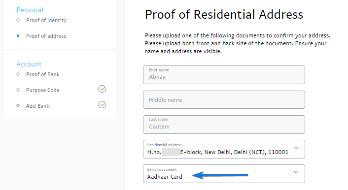 Upload your Proof of Residential Address