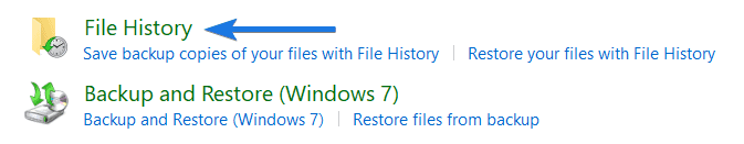 Click on File History