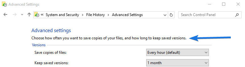 How long to Save File Windows File History Files