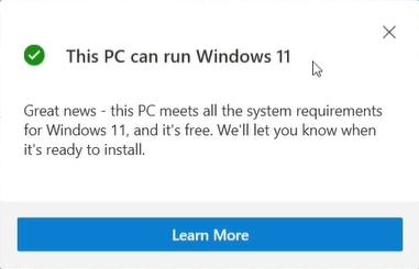 This PC can run Windows 11