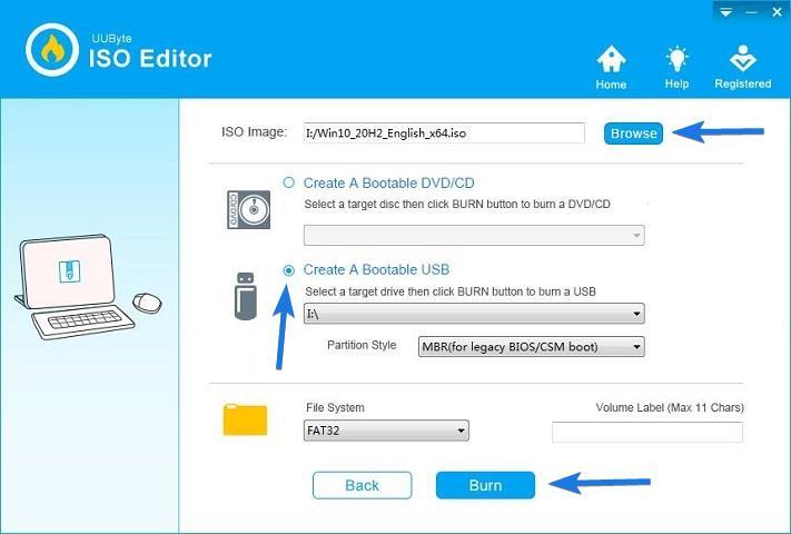 UUByte ISO Editor Burning Bootable USB