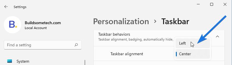 Change Taskbar Settings to Left
