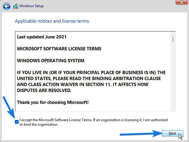 Enable I accept the Microsoft Software License Terms