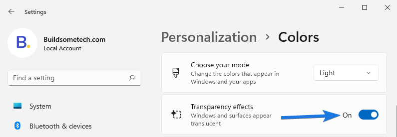 Enable Transparency effects option