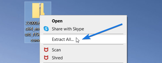 Extract Downloaded UUP Windows Files
