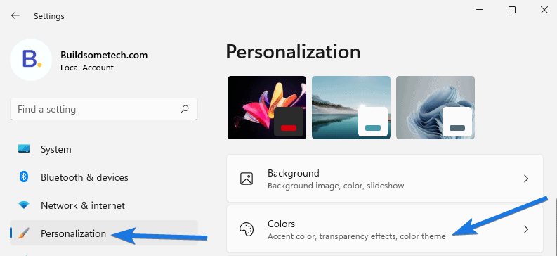 Go to Personalization section and then click on Colors option