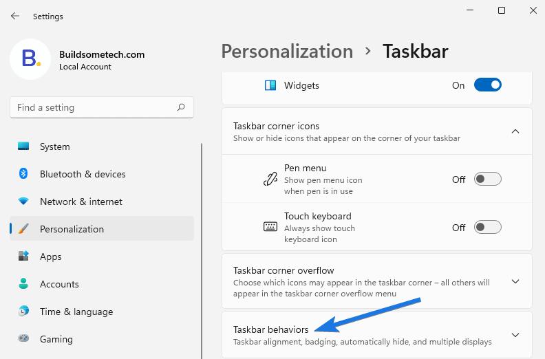 Taskbar behaviors