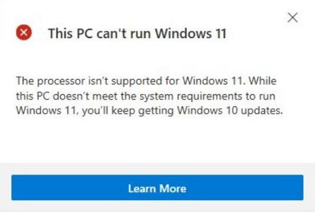 The Processor is not supported for Windows 11