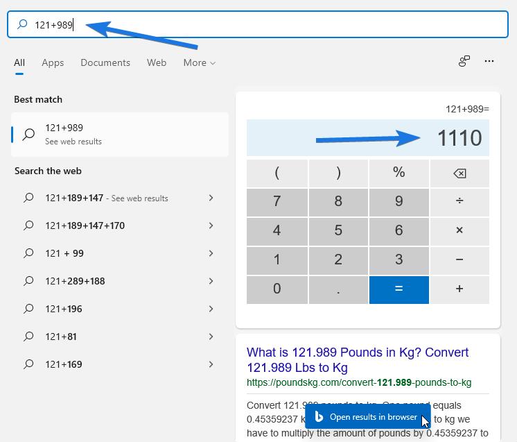 Use Start Menu as Calculator