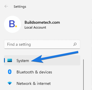 Click on System option