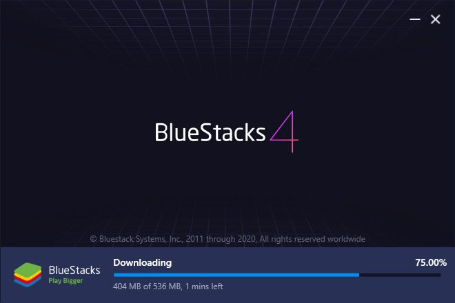 Downloading all the BlueStacks Essential Files