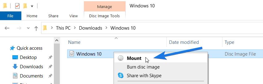 Mount Windows 10 ISO File