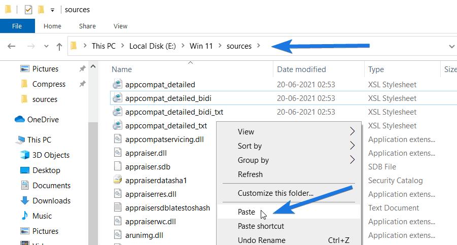 Paste appraiserres.dll file into New Win 11 folder