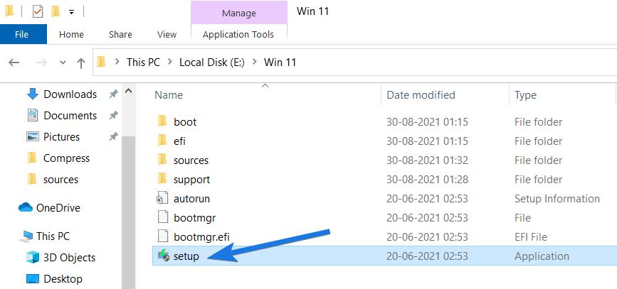 Run setup.exe File from Win 11 Folder