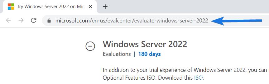Windows Server 2022 download page