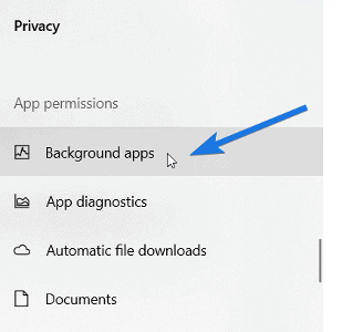Click on Background Apps
