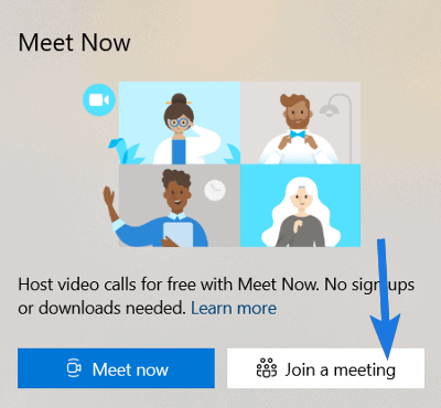 Click on Join a Meeting Button