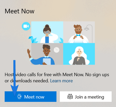 Click on Meet Now button