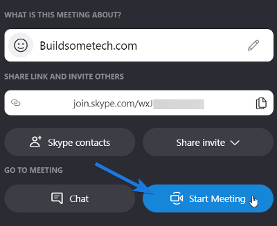 Click on Start Meeting button