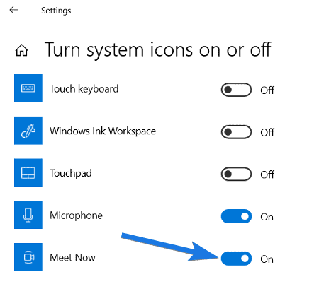 Enable Meet Now Icon in Windows 10