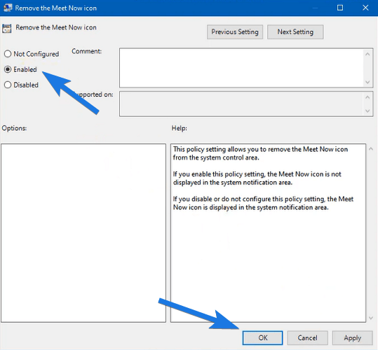 Enable Remove the Meet Now icon Setting