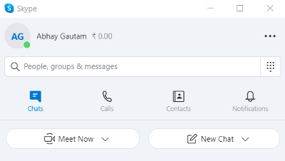 Options like Meet Now and New Chat