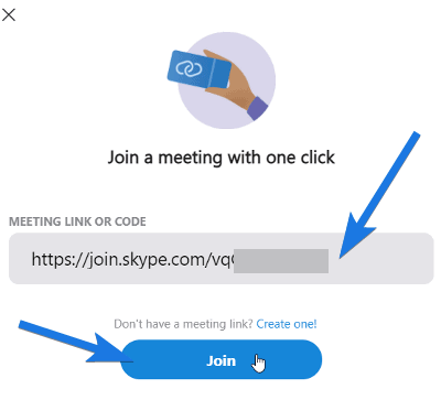 Paste Meeting link and Join