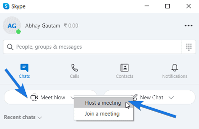 Select Host a Meeting option