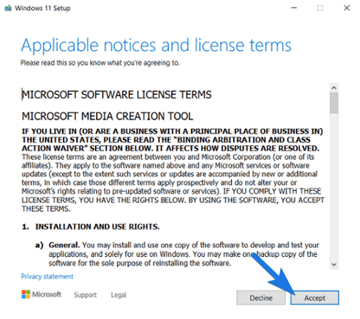 Accept Microsoft Software License Terms
