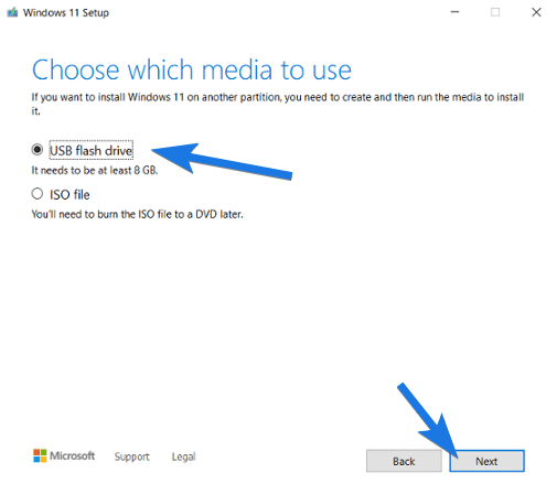 Choose which media to use dialog box