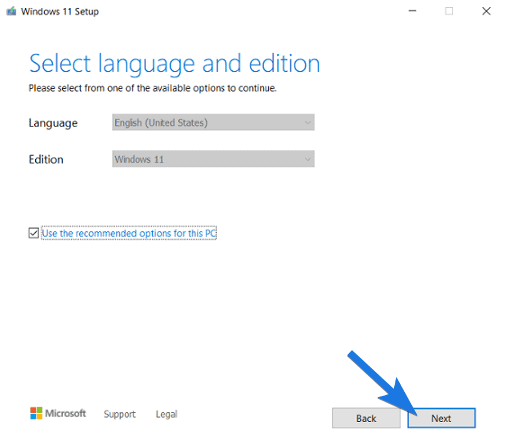 Select Language and Edition & click Next