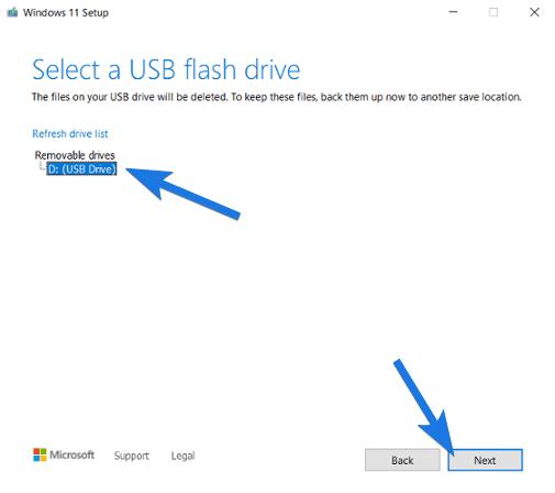 Select USB flash drive and Click Next