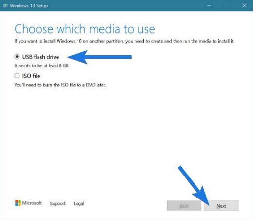 Select USB flash drive as Media