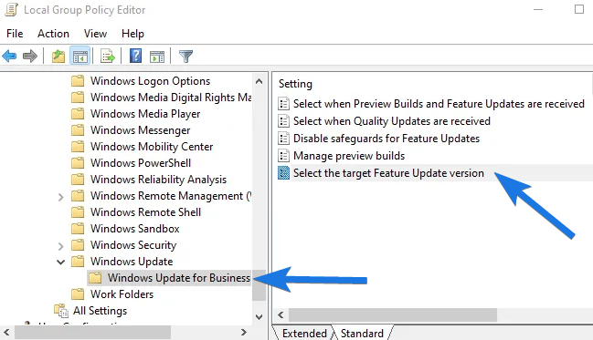 Select the target feature update version