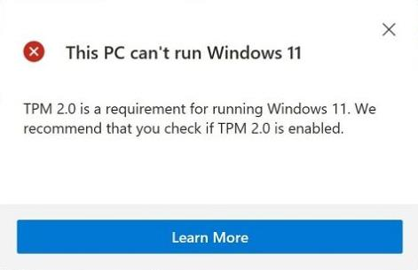 TPM 2.0 is a Requirement For Running Windows 11