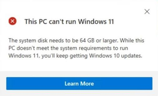 The system disk needs to be 64 GB or larger